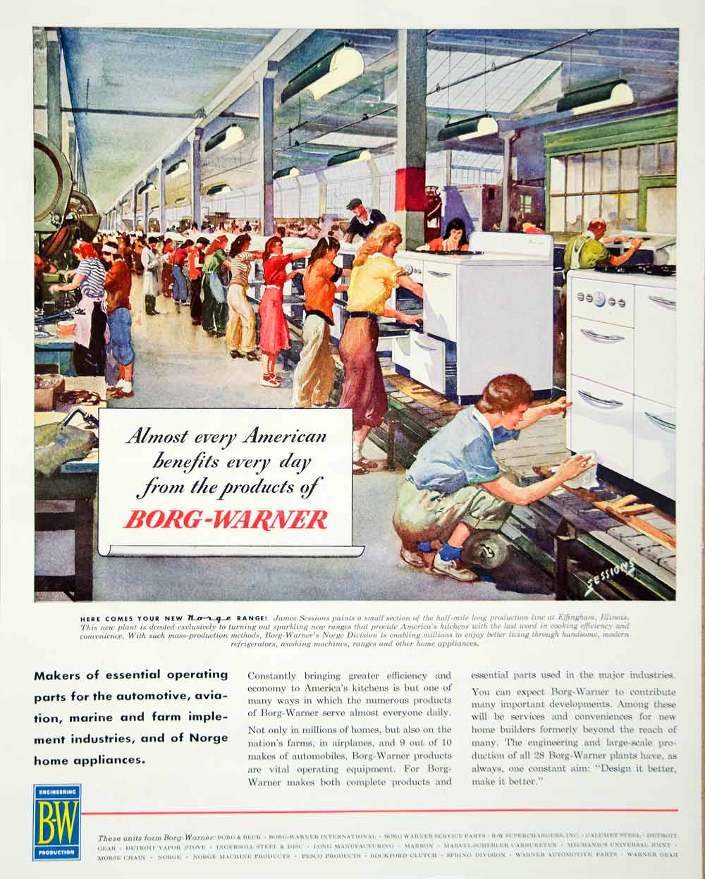 1946 Ad Borg Warner Engineering Production Kitchen Appliance Refrigerator FTM1