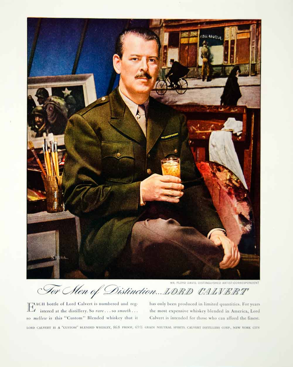 1946 Ad Lord Calvert Sarra Floyd Davis Blended Whisky New York FTM1