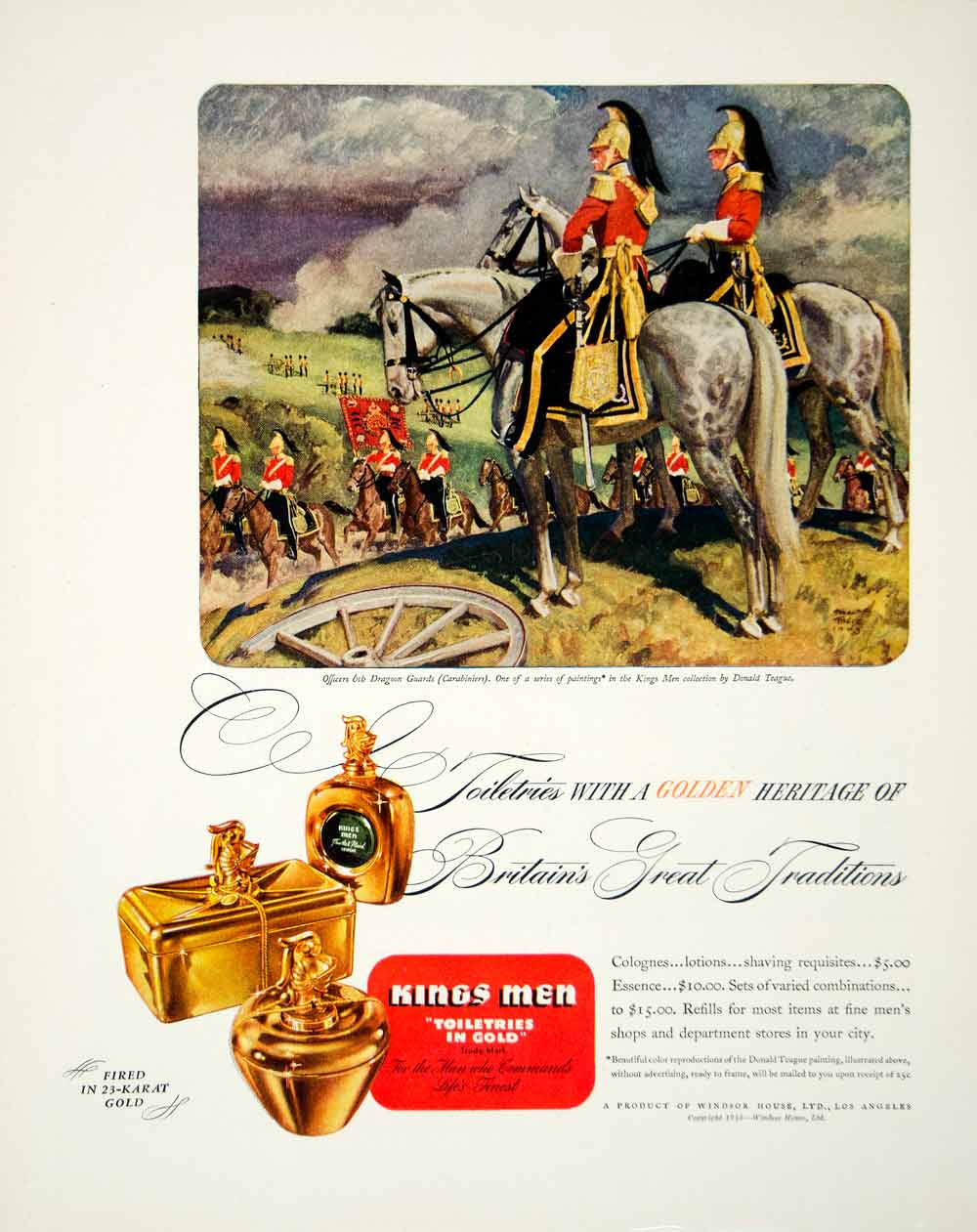 1946 Ad Kings Men Toiletries Gold Cologne Lotion Shaving Donald Teague FTM1