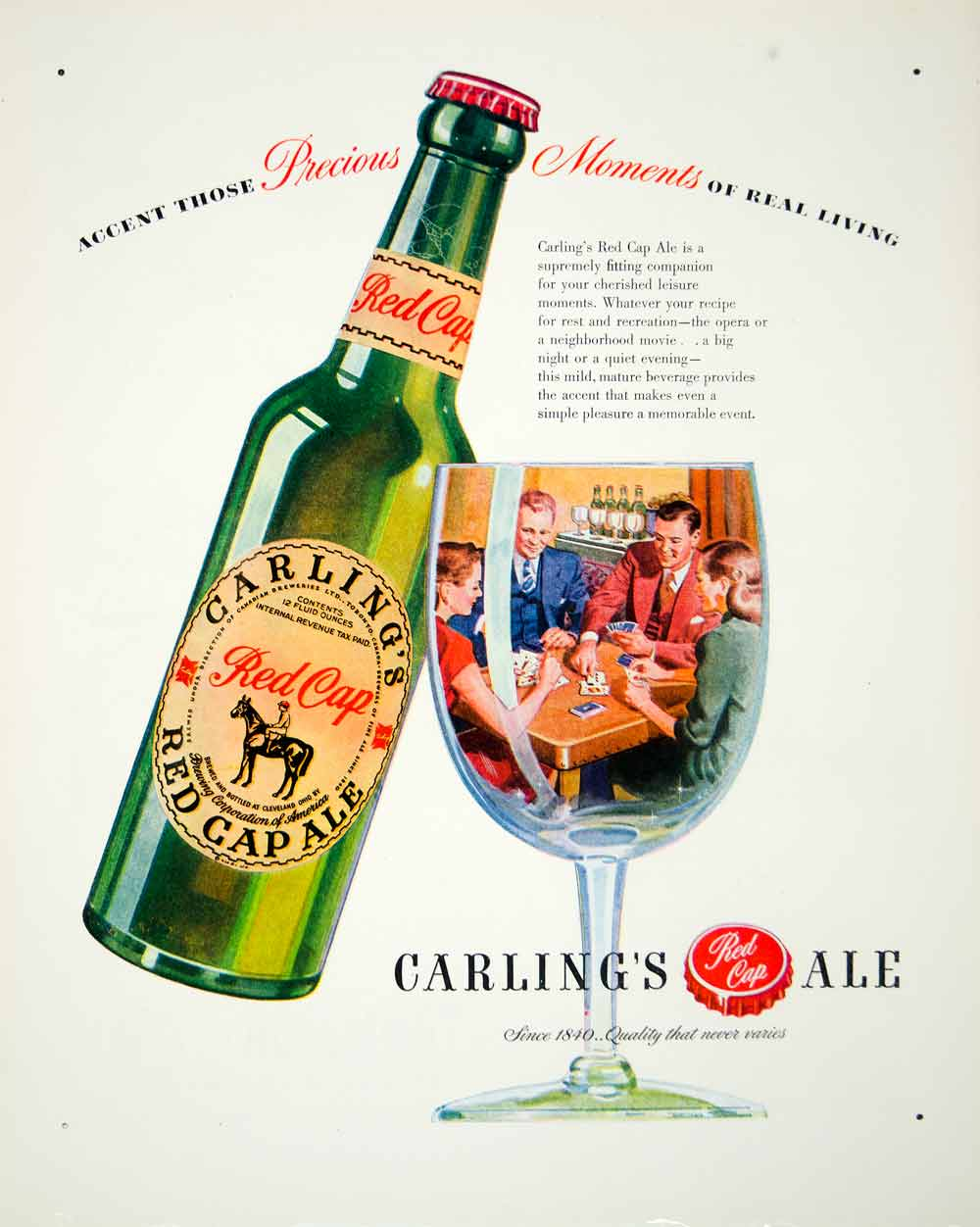 1946 Ad Carling Red Cap Ale Alcohol Drink Beverage Horse Party Glass Cards FTM1