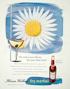 1946 Ad Hiram Dry Martini Cocktail Alcohol Daisy Drink Beverage Flower FTM1