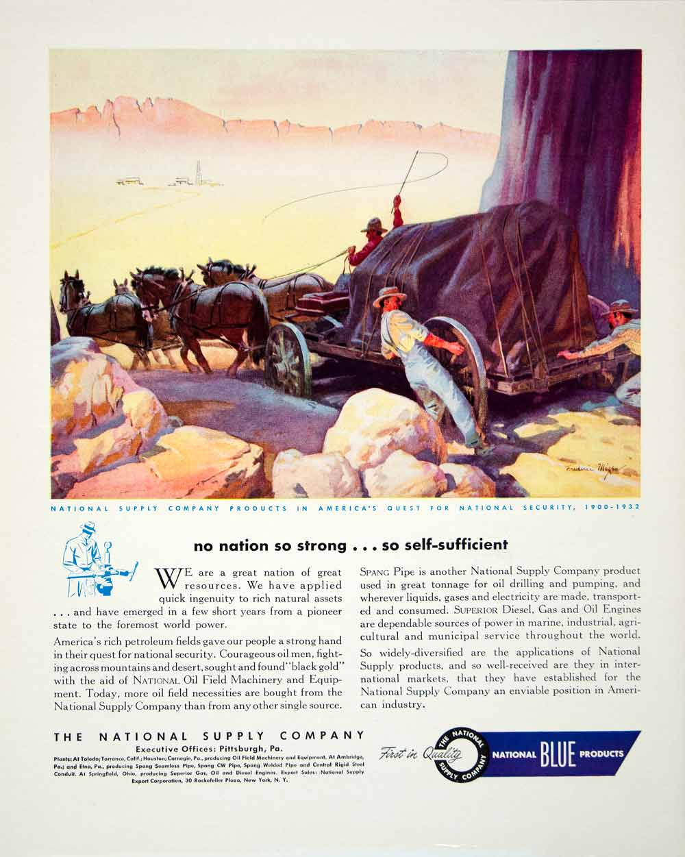 1946 Ad National Blue Supply Products Western Horse Cargo Travel Pittsburgh FTM1