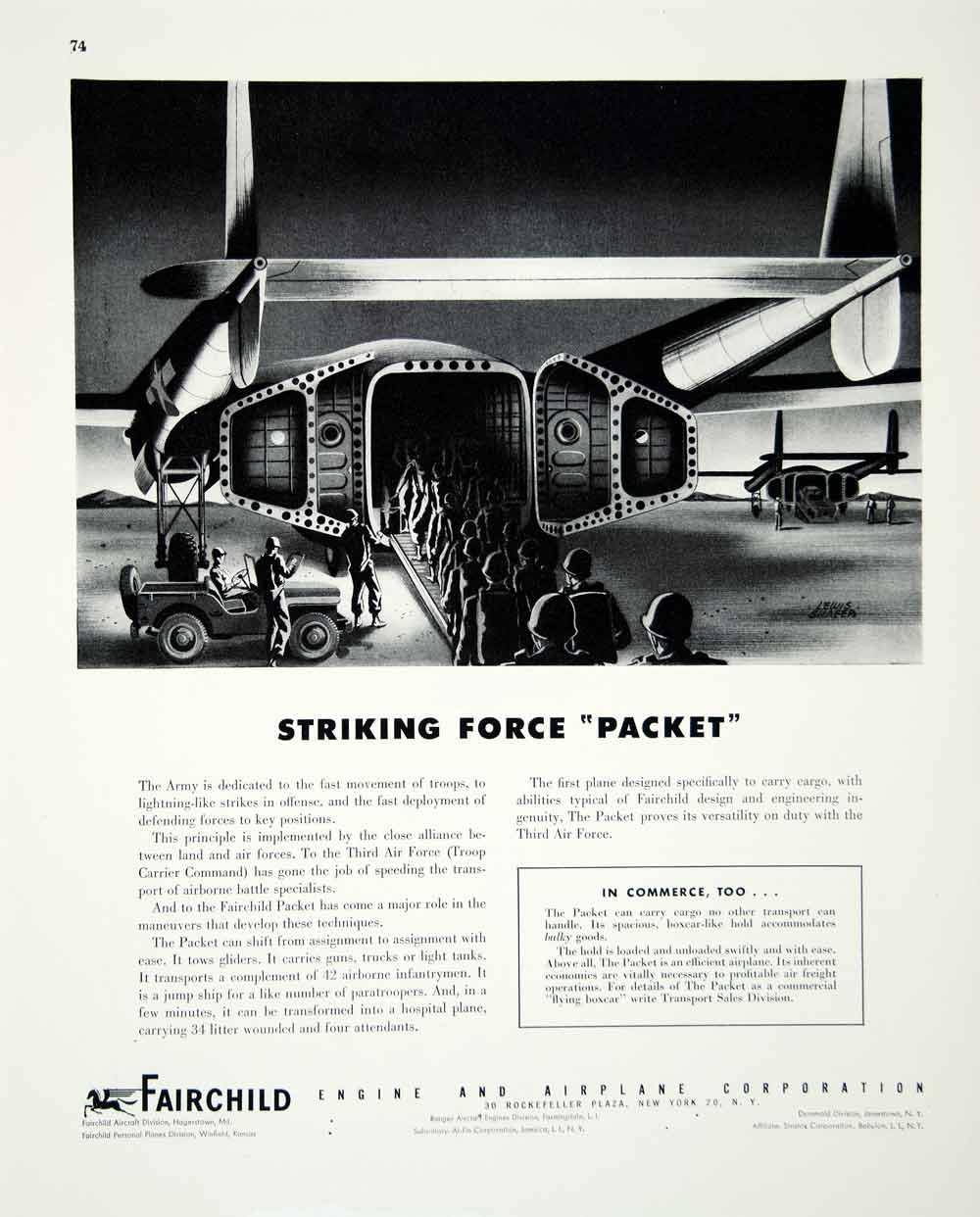1946 Ad Fairchild Engine Airplane Corporation Travel Transportation Packet FTM1
