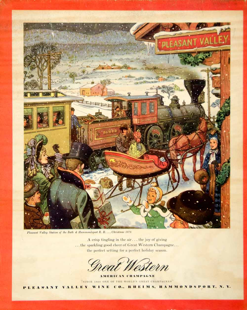1946 Ad Great Western American Champagne Pleasant Valley Station Train FTM1