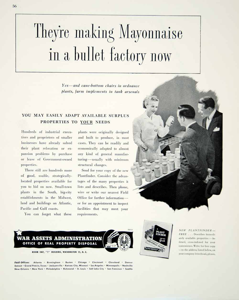 1948 Ad Post-WWII War Assets Administration Plant Factory Mayonnaise Bullet FTM3