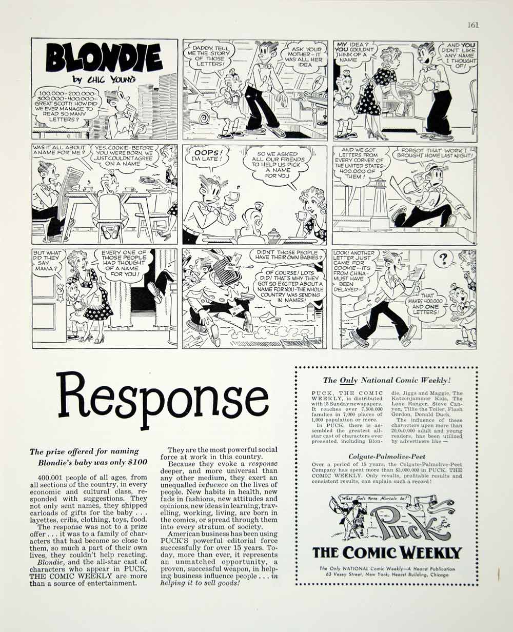 1948 Ad Blondie Puck Cookie Letters Comic Strip Cartoon Advertising Weekly FTM3