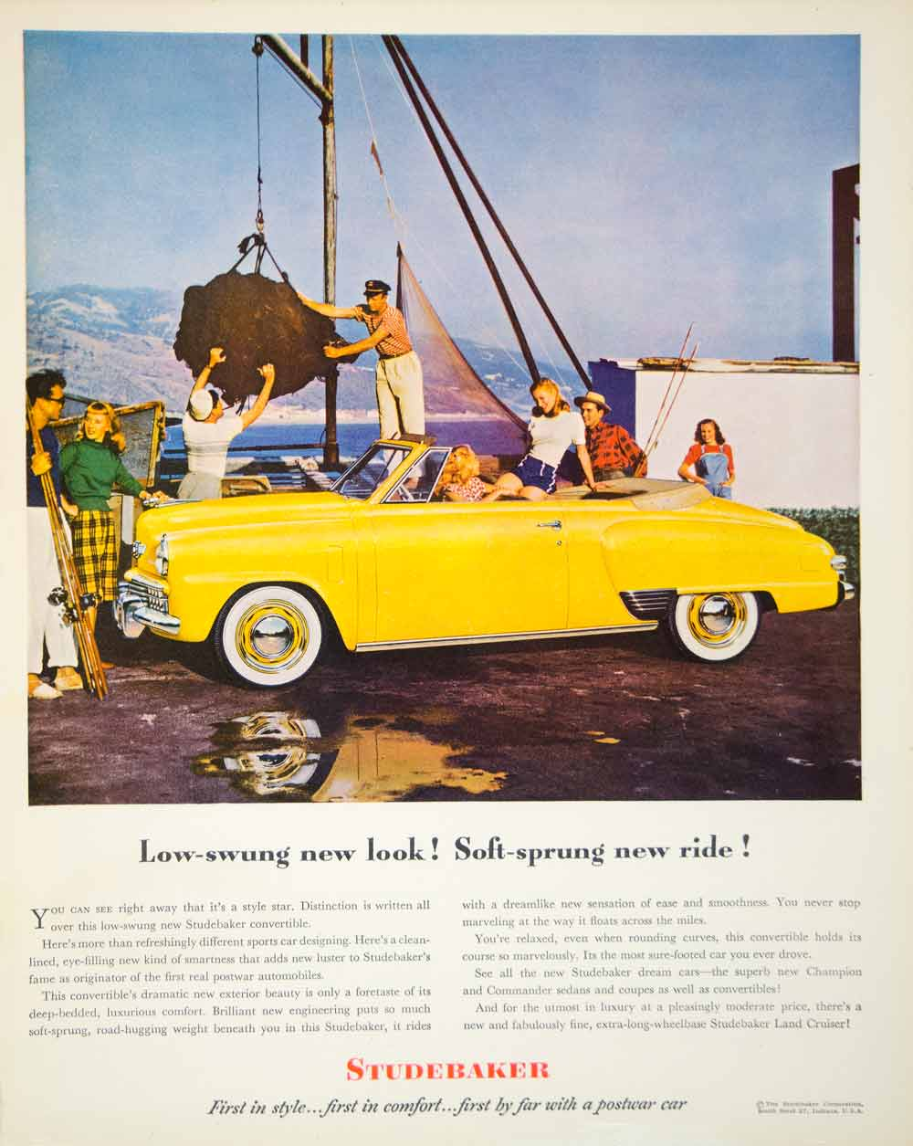 1948 Ad Studebaker Convertible Automobile Yellow Car Whitewall Tires FTM3
