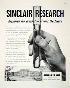 1948 Ad Sinclair Research Test Tube Oil Laboratories Harvey Hand Science FTM3