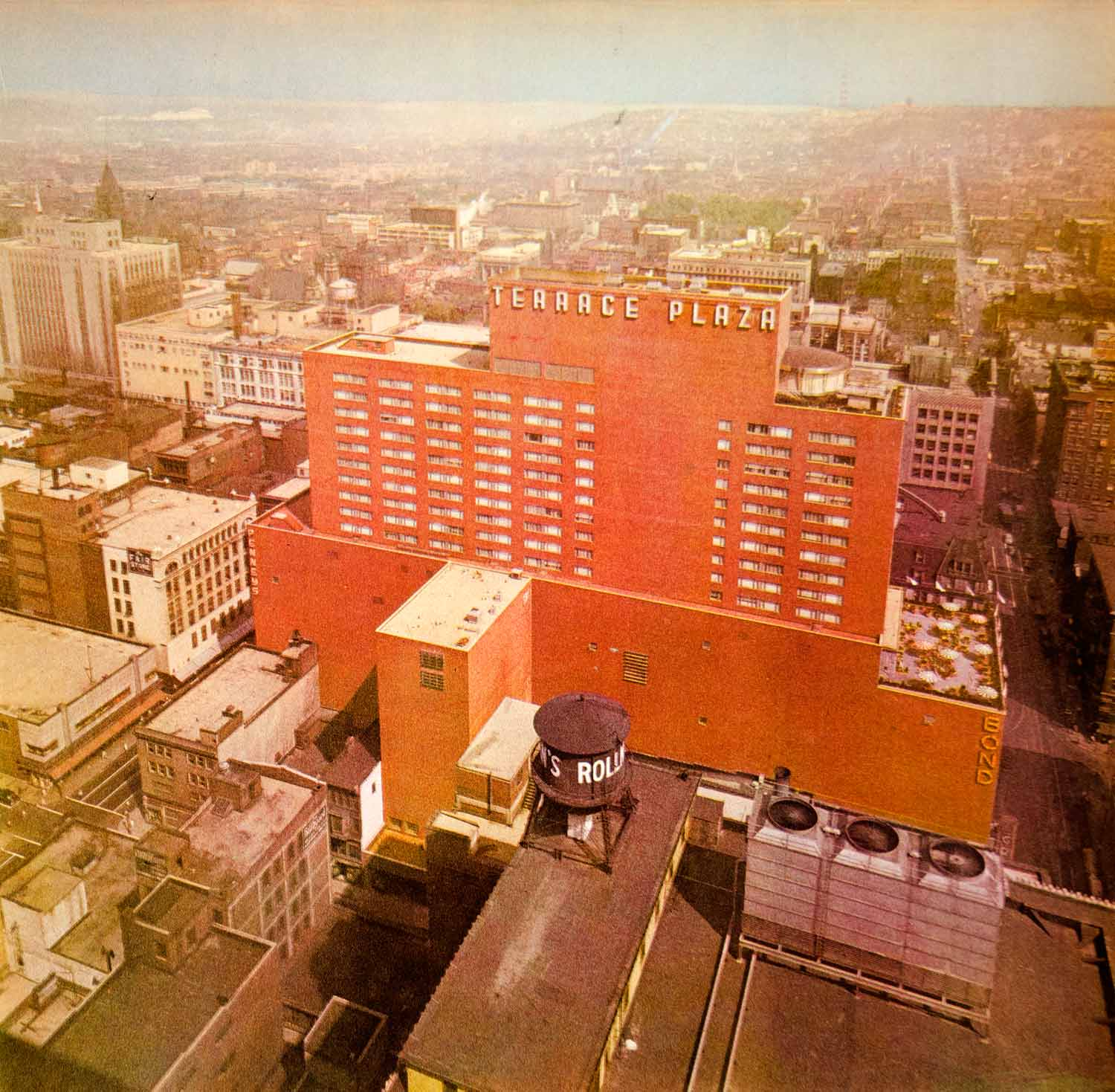 1948 Color Print Terrace Plaza Cincinnati Cityscape View Rooftops Ohio Smog FTM3