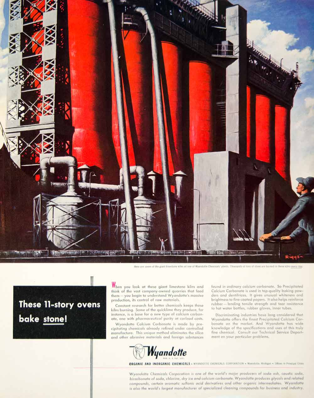 1949 Ad Wyandotte Limestone Kiln Chemicals Calcium Carbonate Industrial FTM4