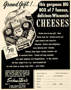 1949 Ad Wisconsin Cheeses Schuster's Cheddar Swiss Holland Variety FTM4