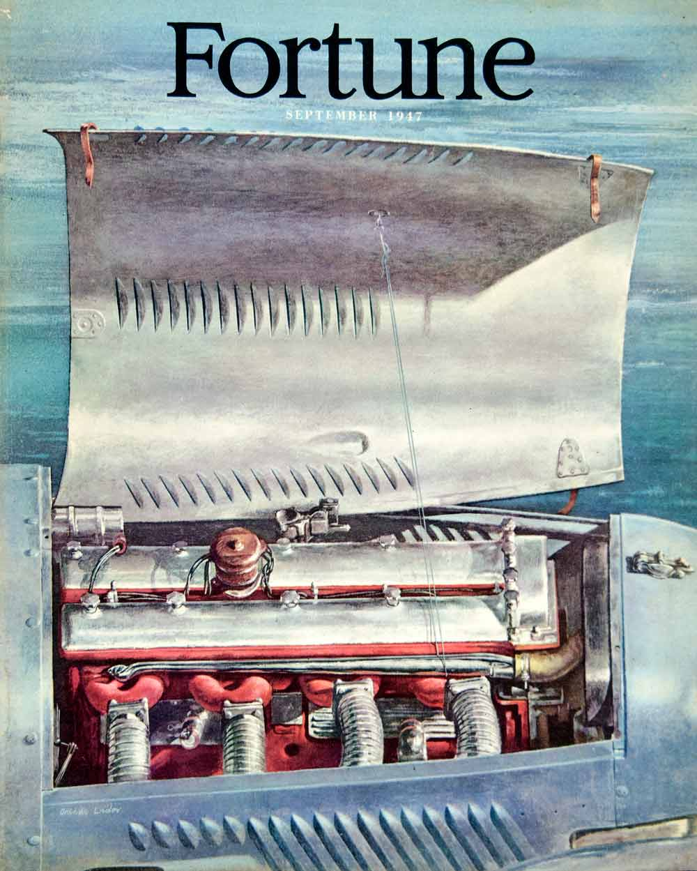 1947 Cover Arthur Lidov Fortune Engine September Blue Hood Bonnet Art FTM