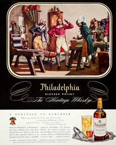 1947 Ad Philadelphia Heritage Blended Whisky Frank Reilly Liberty Bell US FTM