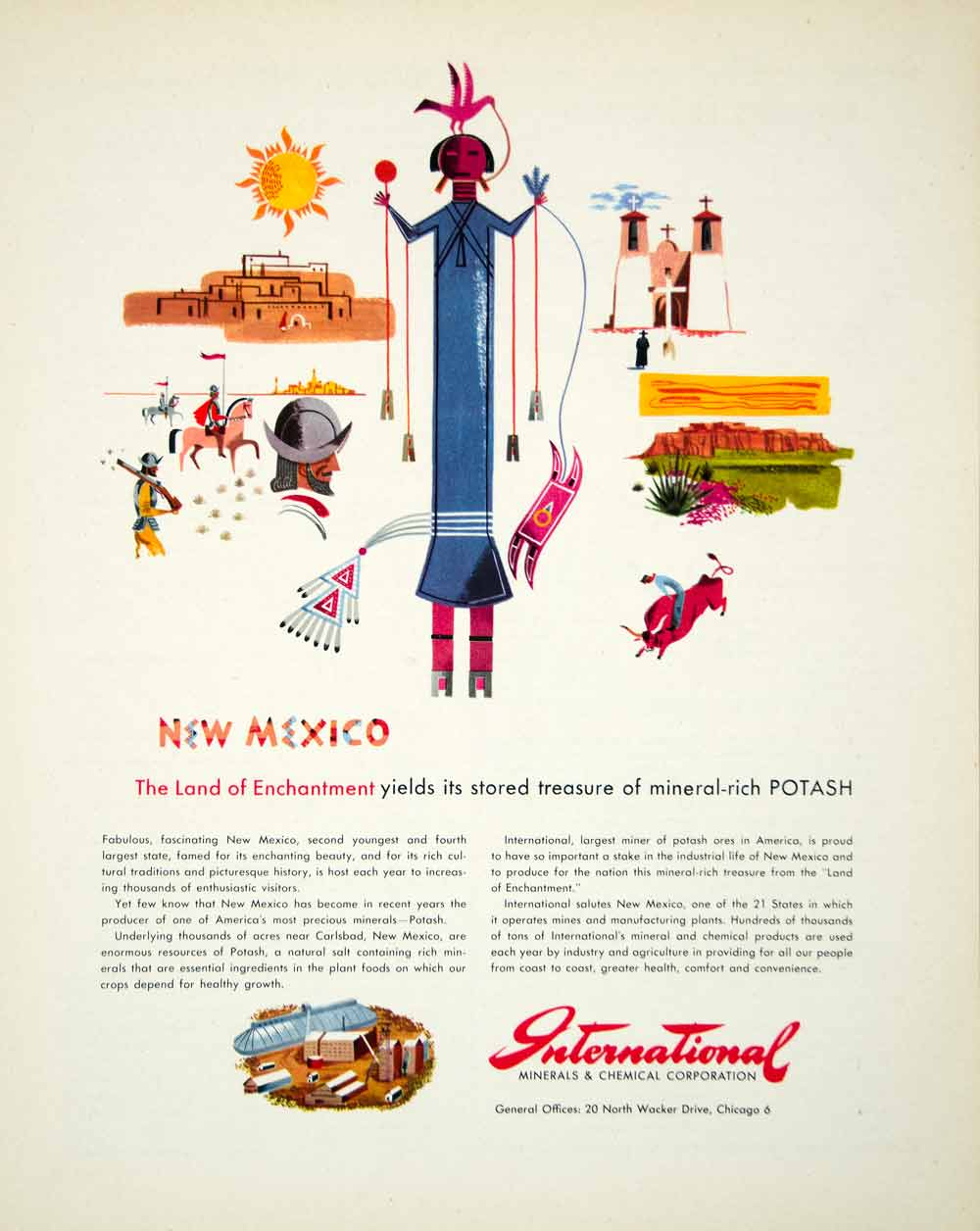 1947 Ad New Mexico Spanish Colonial Potash International Minerals Chemical FTM