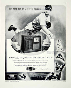 1947 Ad Du Mont Television Set Baseball Player Tennis Sports View TV WABD FTM