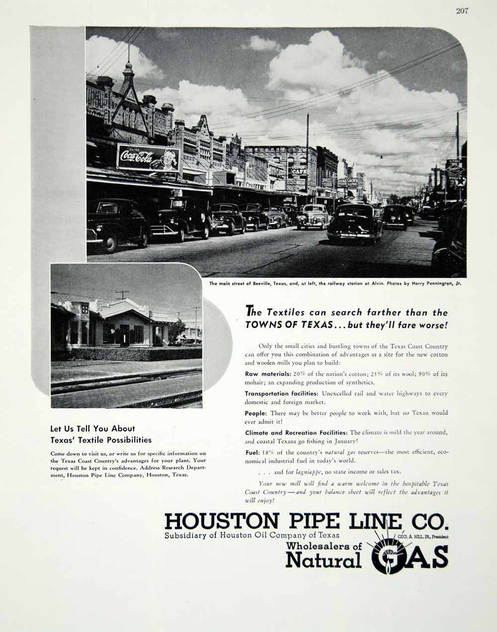 1947 Ad Houston Pipeline Natural Gas Oil Beeville TX Alvin Railway Station FTM