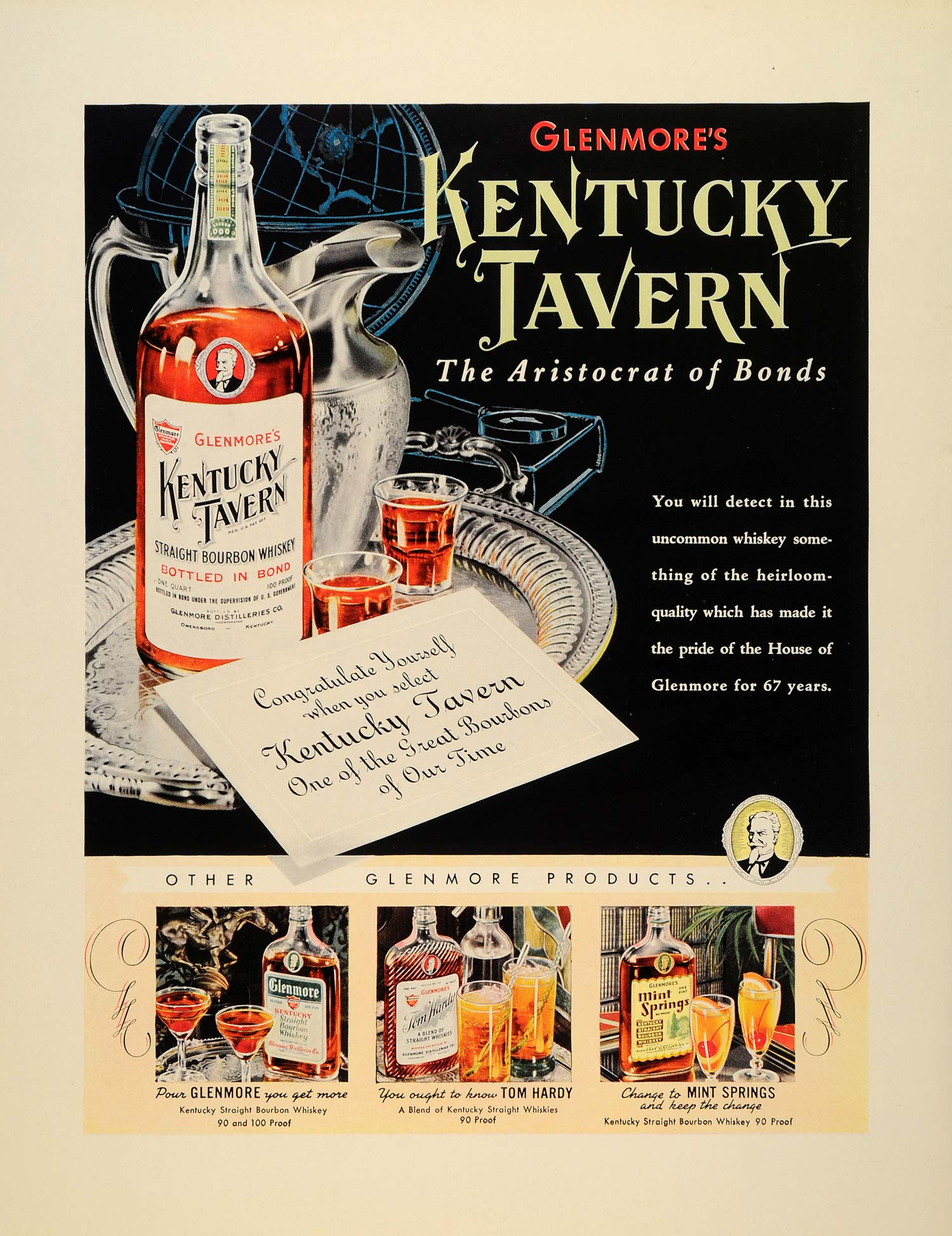 1939 Ad Glenmore Distilleries Kentucky Bourbon Whiskey - ORIGINAL FTT9