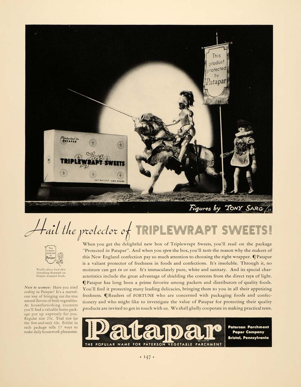 1934 Ad Vintage Patapar Parchment Packaging Tony Sarg - ORIGINAL FTT9