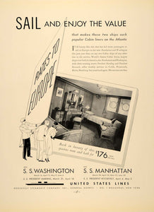 1934 Ad United States Cruise Ship Lines S.S. Manhattan - ORIGINAL FTT9
