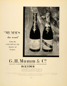 1934 Ad Vintage G.H. Mumm Champagne Bottles French - ORIGINAL ADVERTISING FTT9