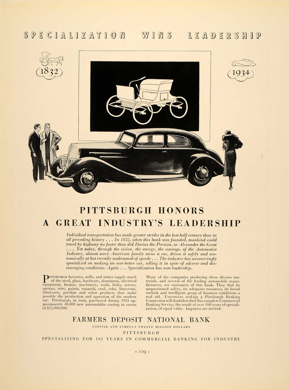 1934 Ad Farmers Deposit National Bank Pittsburgh Cars - ORIGINAL FTT9