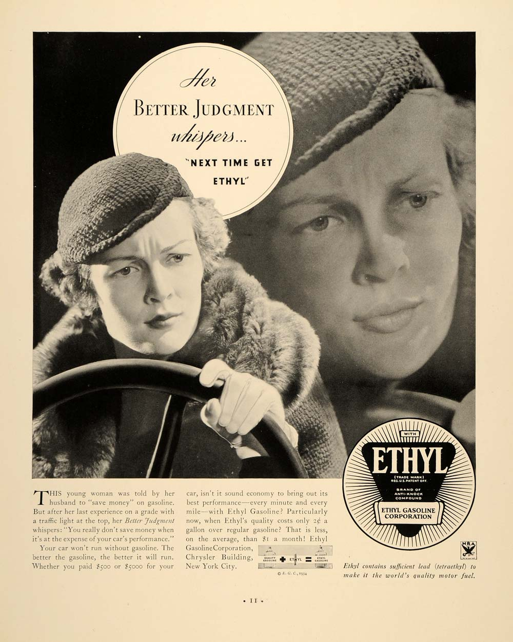 1934 Ad Ethyl Gasoline Oil Woman Driving Motor Oil - ORIGINAL ADVERTISING FTT9