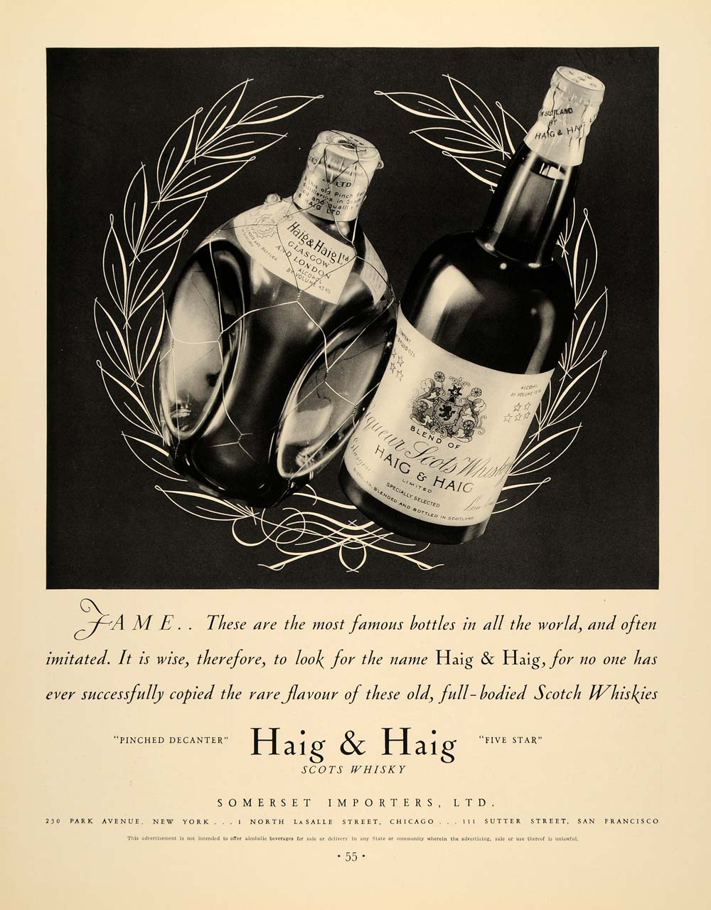 1934 Ad Haig and Haig Scots Whiskey Somerset Importers - ORIGINAL FTT9