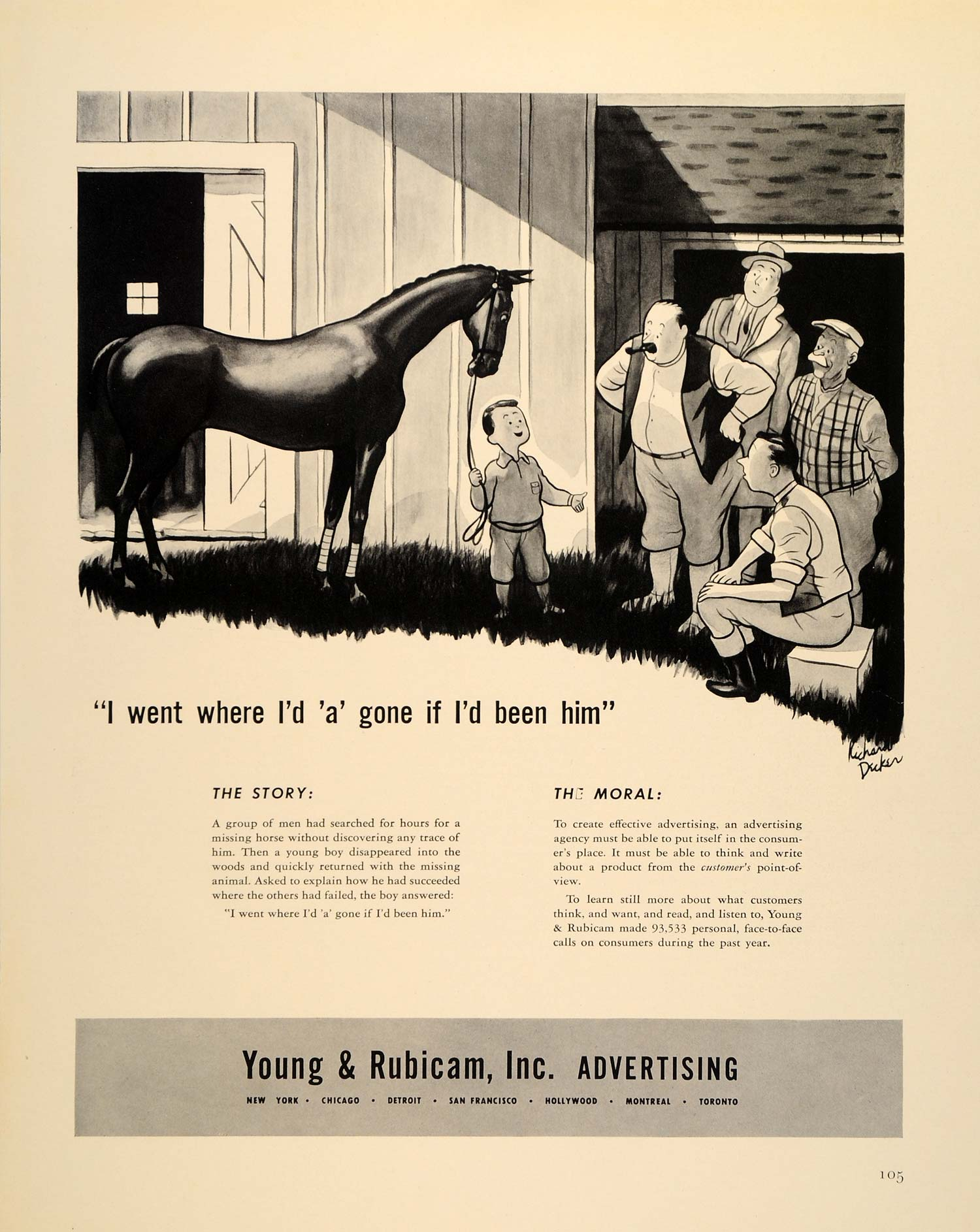 1939 Ad Young Rubicam Advertising Agency Consumer Horse - ORIGINAL FTT9