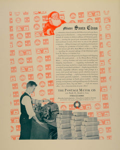 1939 Ad Postage Meter Shipping Christmas Packages Santa - ORIGINAL FTT9