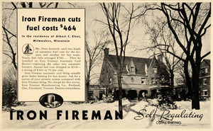 1934 Ad Iron Fireman Fuel Costs Coal Firing Heat Homes - ORIGINAL FTT9