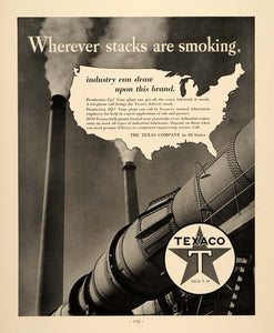 1937 Ad Smoke Stacks Texaco Lubricant Oil Gasoline Gas - ORIGINAL FTT9