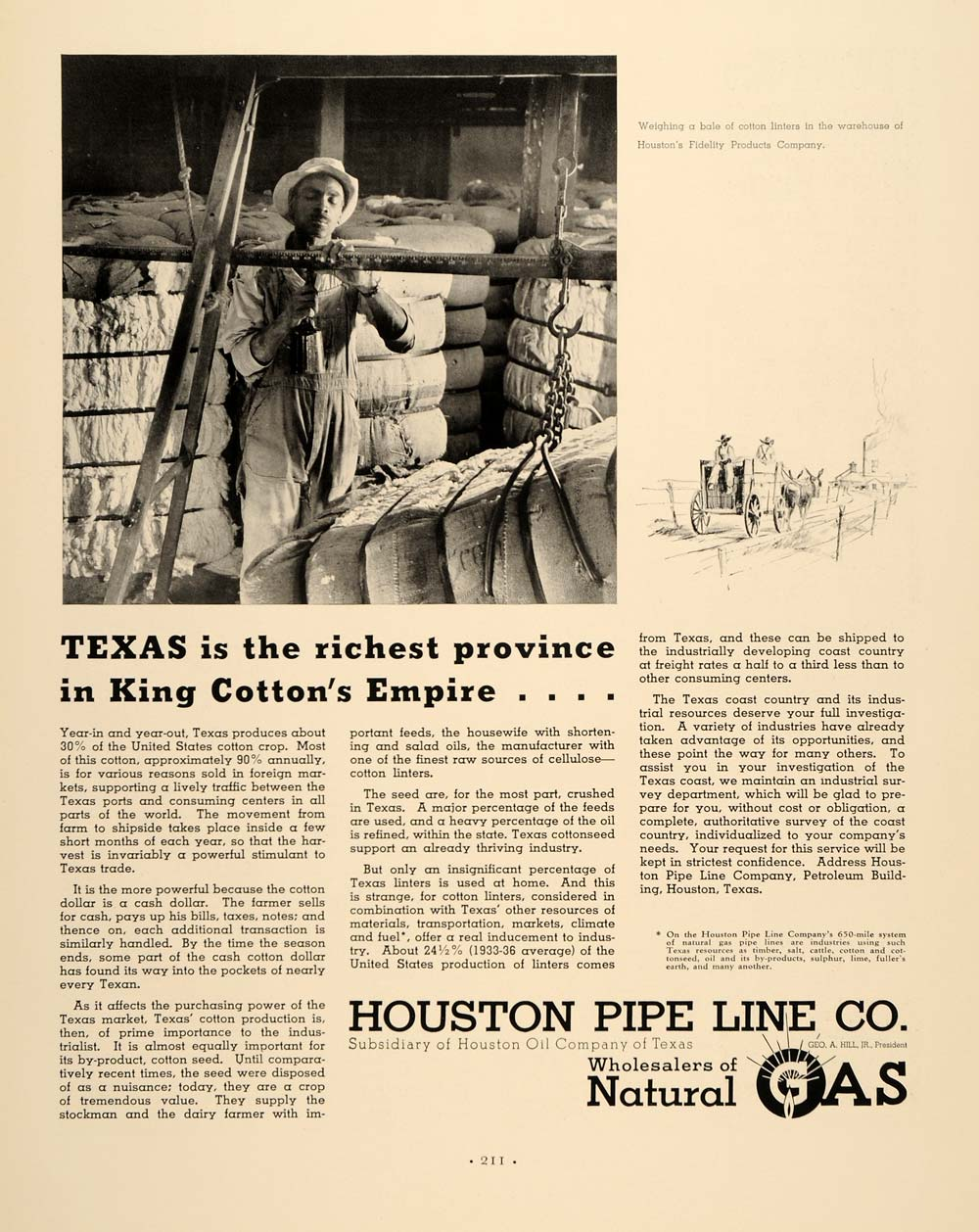 1937 Ad Natural Gas Houston Pipe Line Texas Cotton King - ORIGINAL FTT9