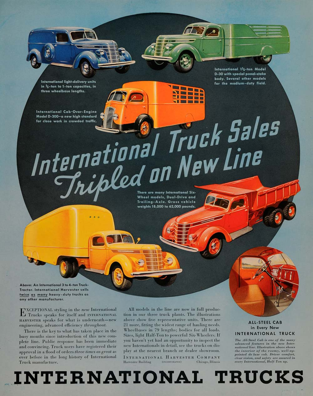 1937 Ad International Truck Sales Delivery Dump Models - ORIGINAL FTT9