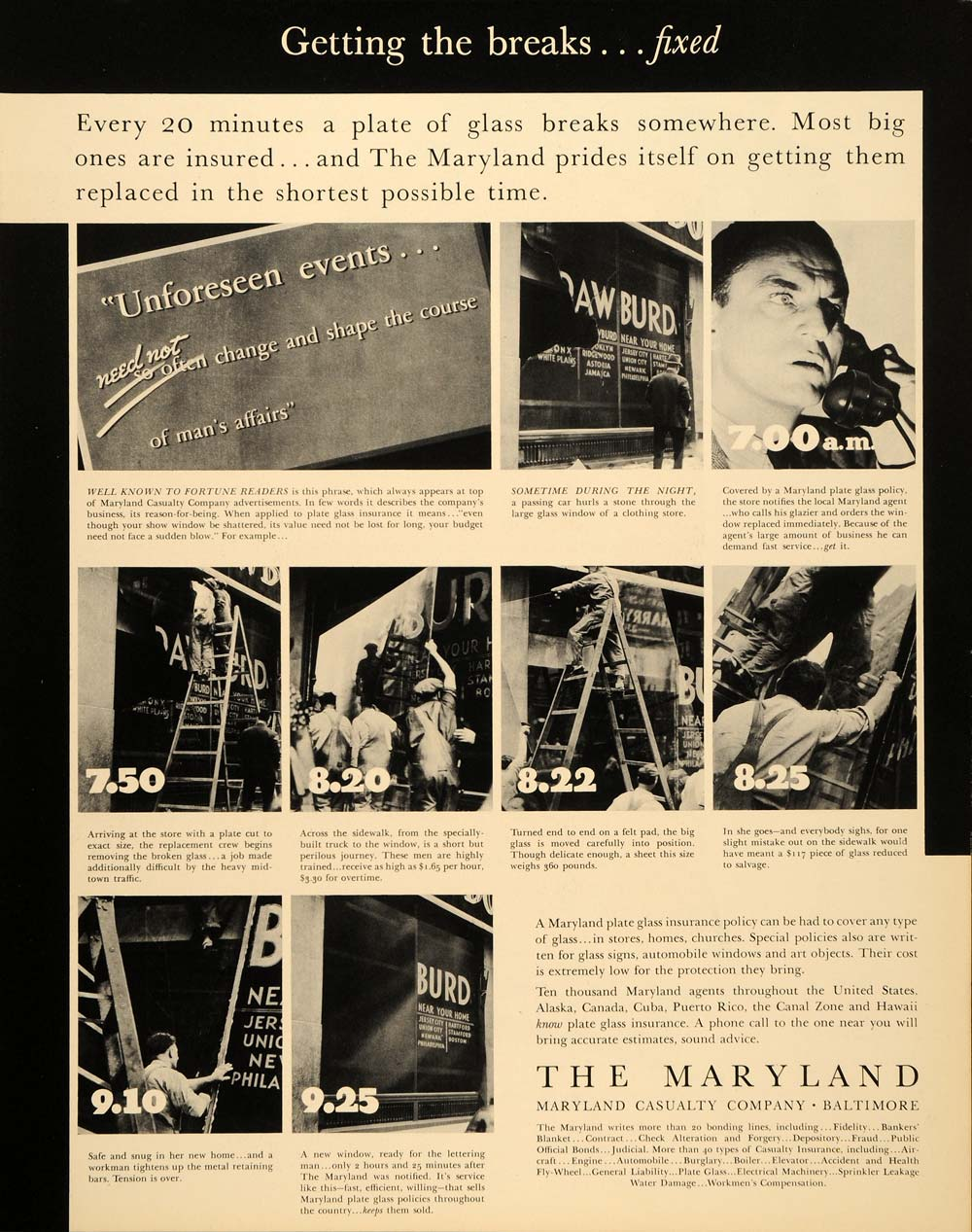 1937 Ad Maryland Casualty Company Baltimore Insurance - ORIGINAL FTT9