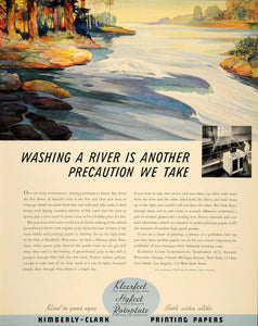 1937 Ad RIver Kimberly Clark Printing Papers Kleerfect - ORIGINAL FTT9