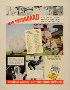 1937 Ad Camel Cigarettes Parachute Floyd Stimson - ORIGINAL ADVERTISING FTT9
