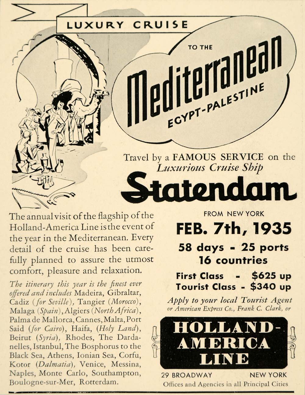 1934 Ad Holland America Line Mediterranean Statendam - ORIGINAL ADVERTISING FTT9