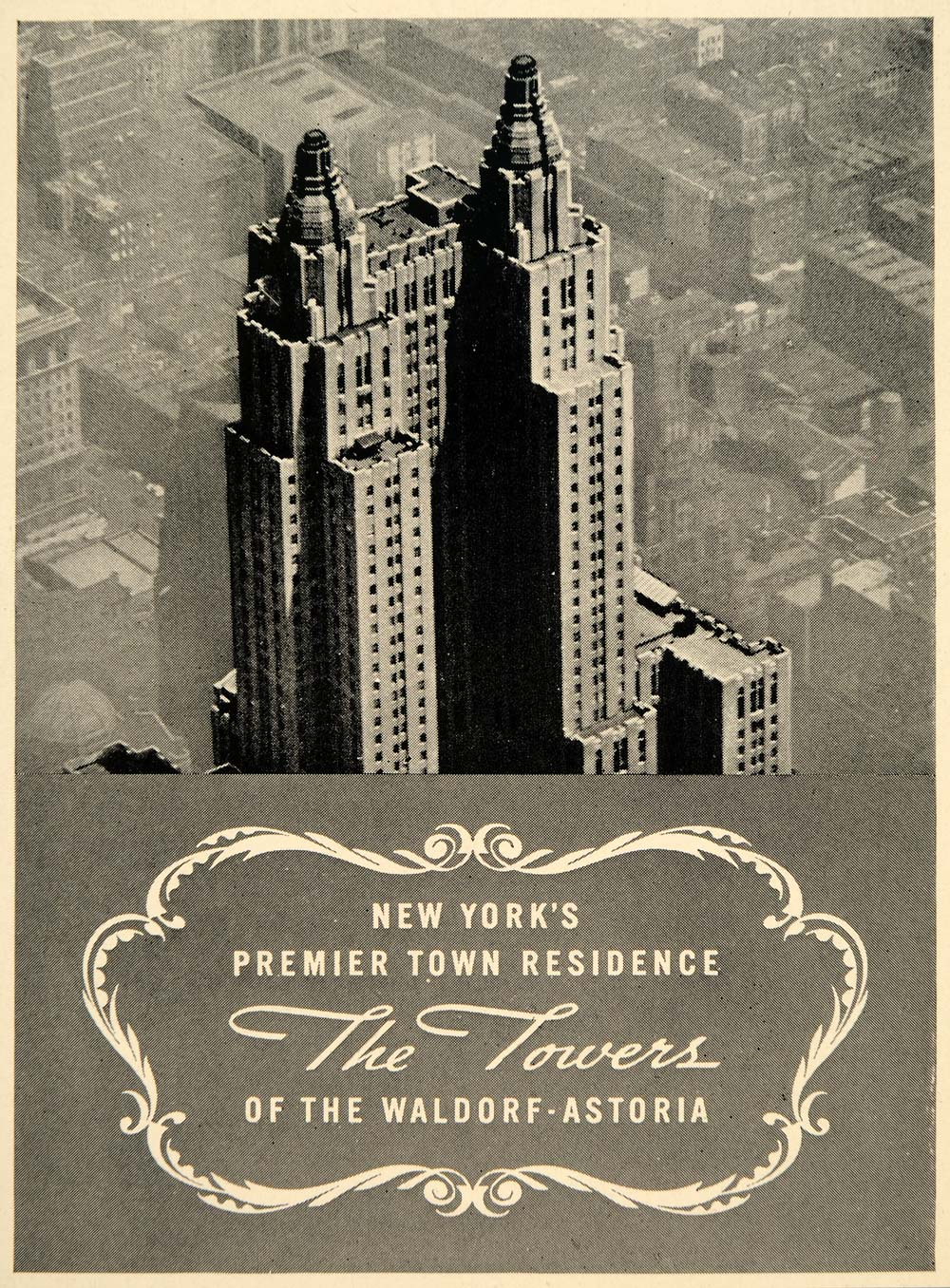 1939 Ad Waldrof-Astoria Towers Hotel Residence New York Cityscape FTT9