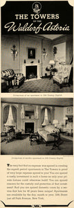 1937 Ad Towers Apartments Waldorf-Astoria Residence - ORIGINAL ADVERTISING FTT9