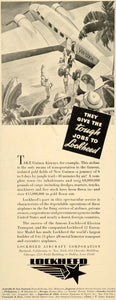 1937 Ad Lockheed Aircraft Guinea Airways Airplane Trip - ORIGINAL FTT9