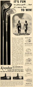 1939 Ad Kroydon Clubs Balls Sport Players Illustration - ORIGINAL FTT9