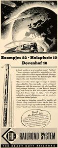 1937 Ad Erie Railroad System Train Railway Illustration - ORIGINAL FTT9