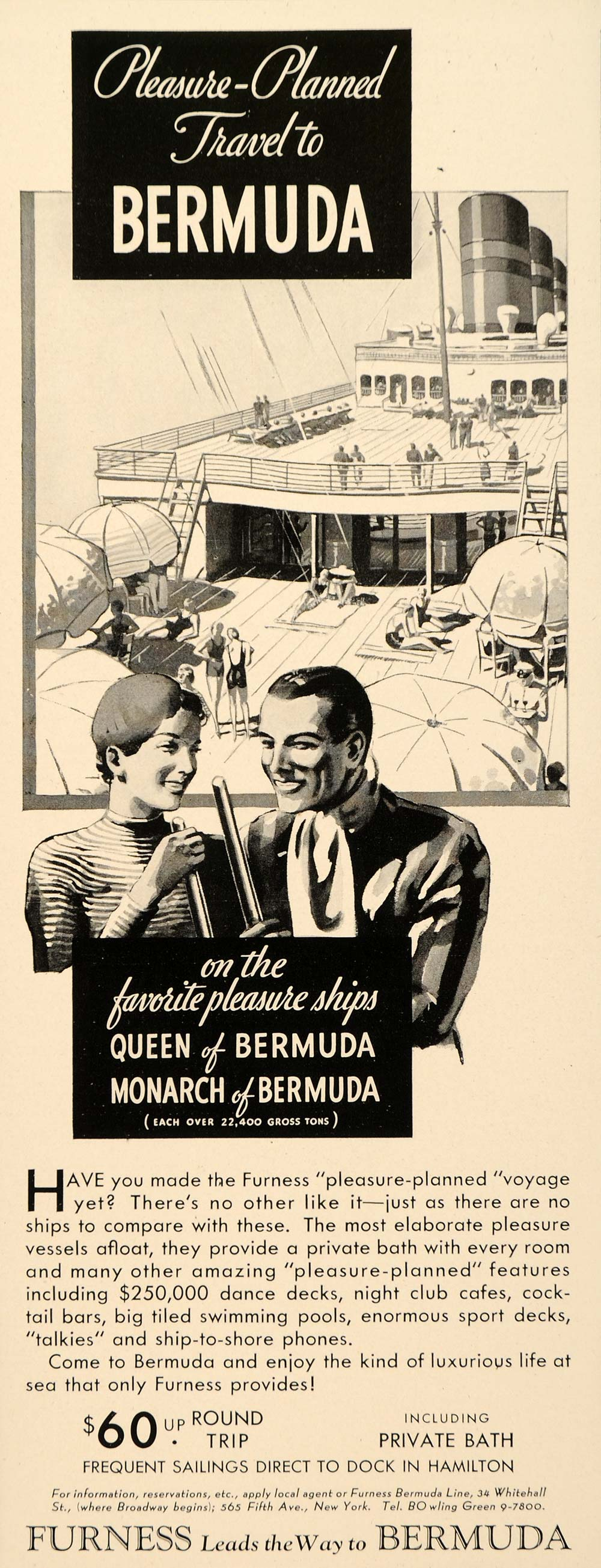 1934 Ad Bermuda Cruise Ship Furnace Queen Monarch Boat - ORIGINAL FTT9