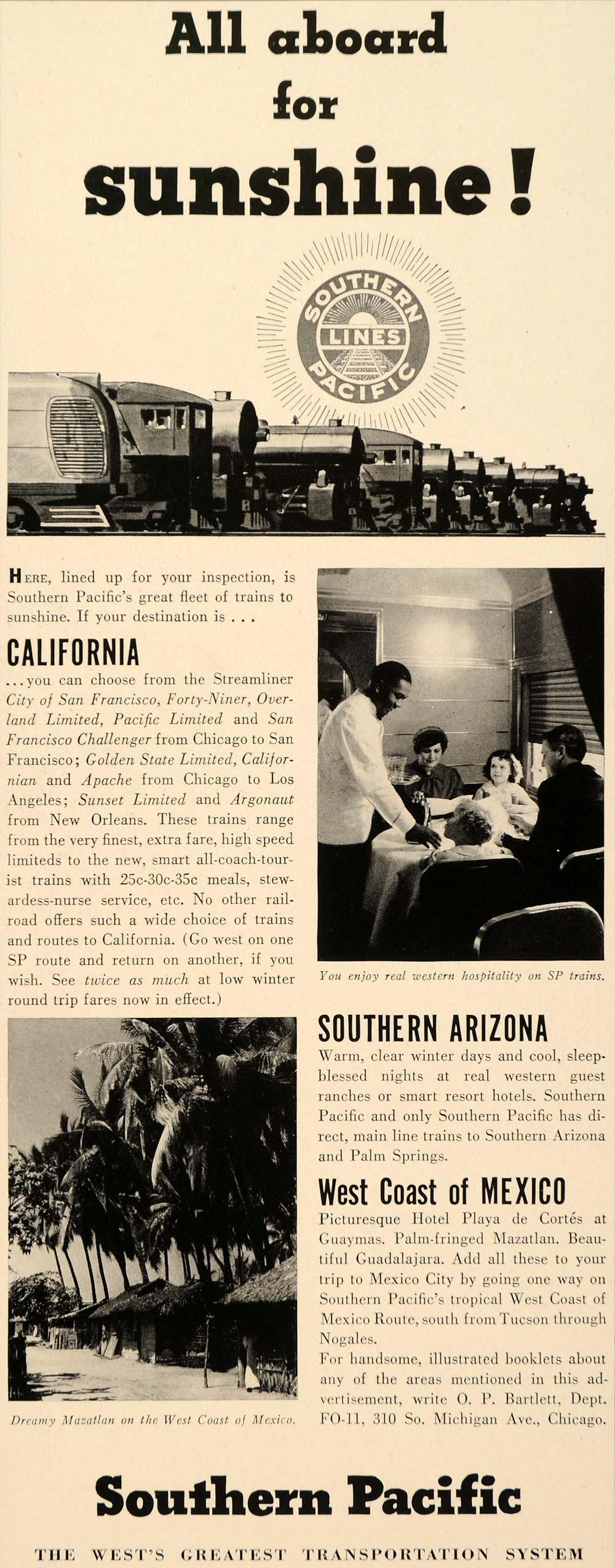 1937 Ad Southern Pacific Railway Lines Travel Train - ORIGINAL ADVERTISING FTT9