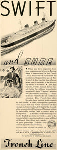 1937 Ad French Line Swift Cruise Ship Sailor Boat - ORIGINAL ADVERTISING FTT9
