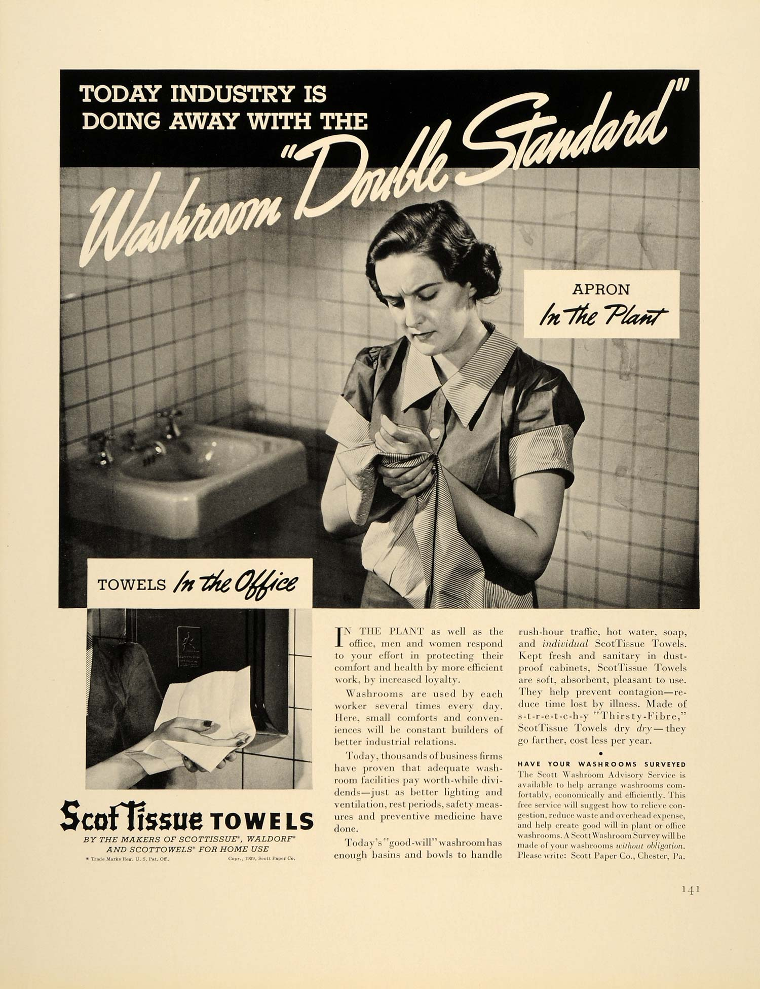 1939 Ad ScotTissue Paper Towels Hand Washing Industry - ORIGINAL FTT9