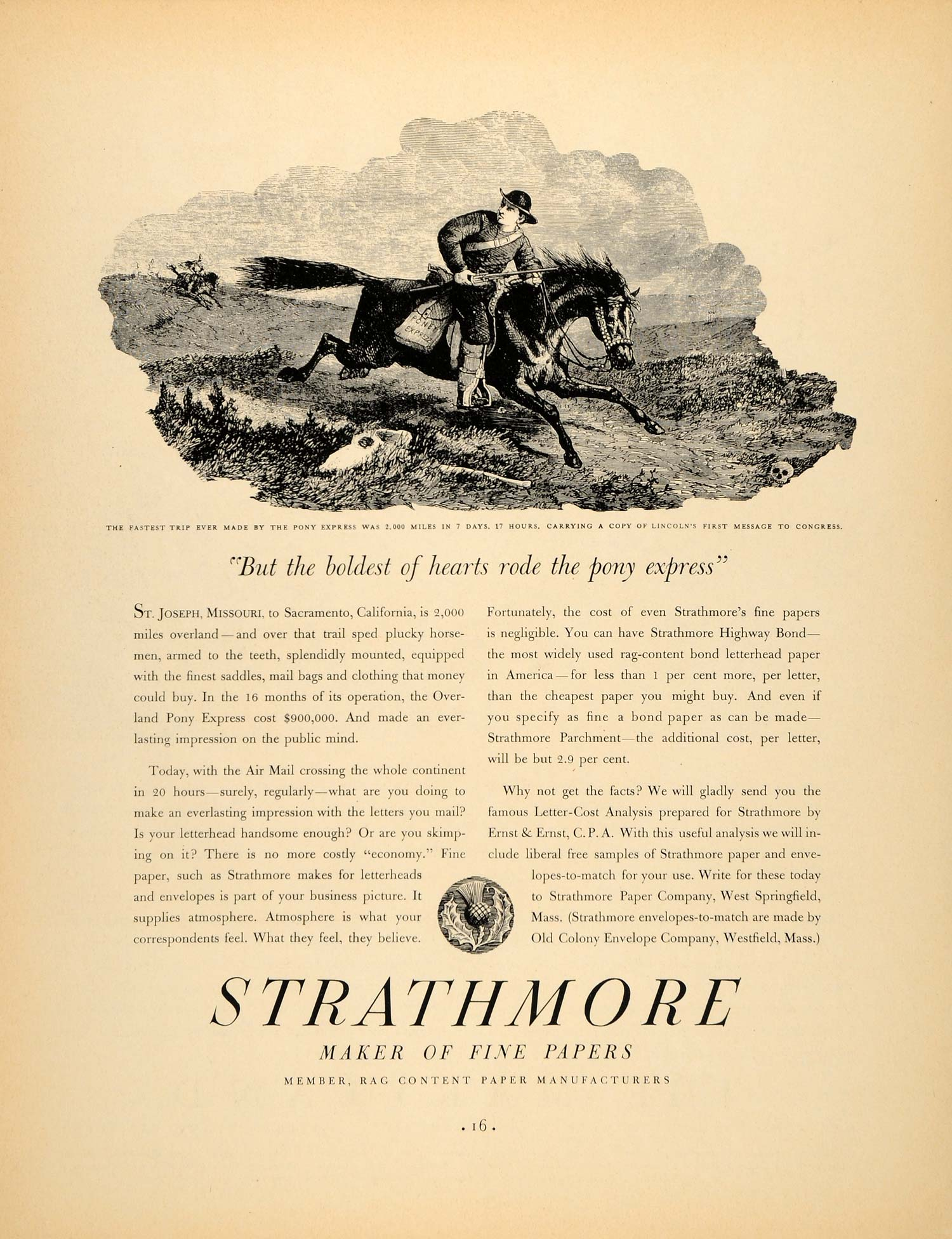 1937 Ad Strathmore Fine Papers Pony Express Lincoln - ORIGINAL ADVERTISING  FTT9