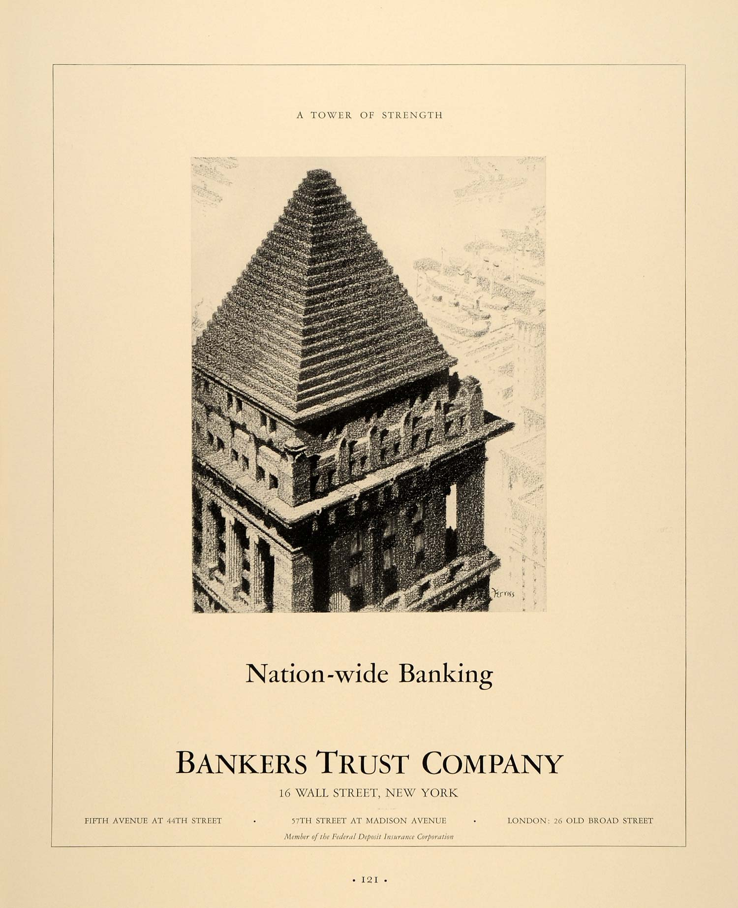1937 Ad Banking Bankers Trust Company 16 Wall Street - ORIGINAL ADVERTISING FTT9