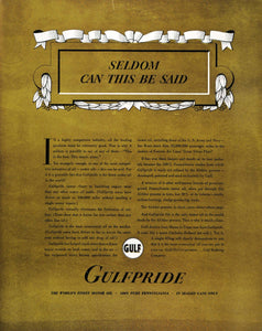 1937 Ad Gulfpride Motor Oil Pennsylvania Gasoline Price - ORIGINAL FTT9
