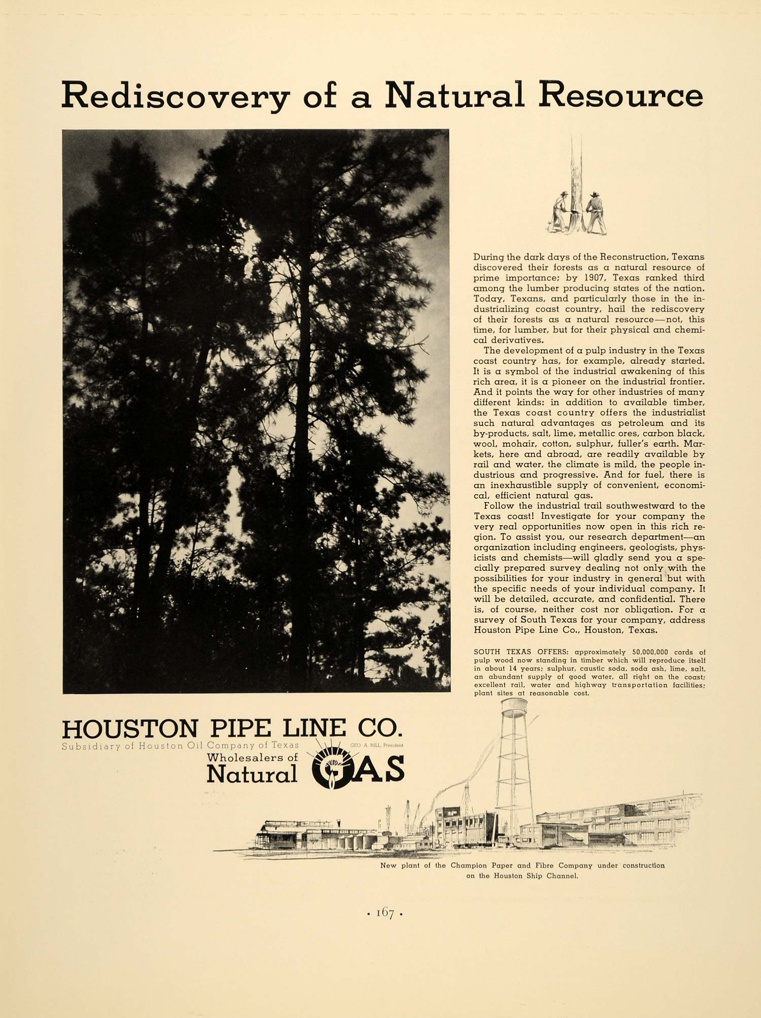 1937 Ad Natural Gas Resources Houston Pipe Line - ORIGINAL ADVERTISING FTT9